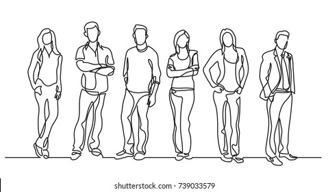continuous line drawing of diverse group of standing people