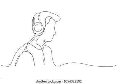 continuous line drawing of a DJ wearing a headphone Vector Illustration