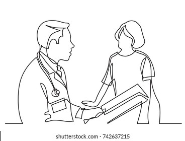 continuous line drawing of doctor consults with patient