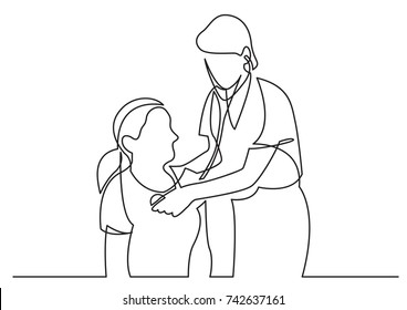 continuous line drawing of doctor examining patient