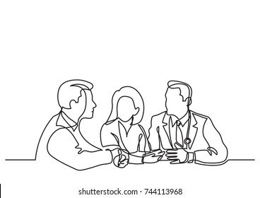 continuous line drawing of doctors meeting