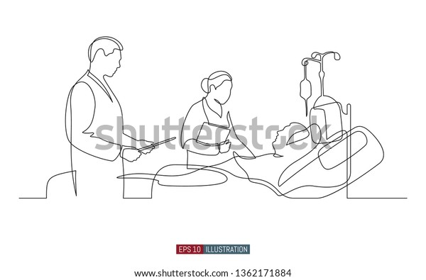 Continuous line drawing of doctors and patient. Hospital scene. Template for your design works. Vector illustration.