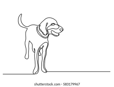 continuous line drawing of dog standing