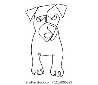 continuous line drawing of dog vector  For print, baby clothes, t shirt, child or wrapping paper