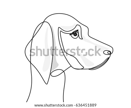 Continuous Line Drawing Dogs Head Stock Vector Royalty Free