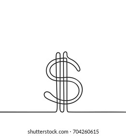 Continuous line drawing of dollar sign, Black and white vector minimalistic hand drawn illustration
