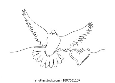 Continuous line drawing of dove symbol of love and piece. Single one line art of shape love and pigeon. vector illustration