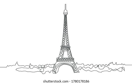 continuous line drawing of the Eiffel Tower in Paris attractions illustration