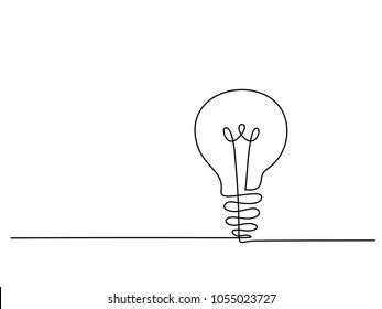 Continuous line drawing. Electic light bulb. Eco idea metaphor. Vector illustration