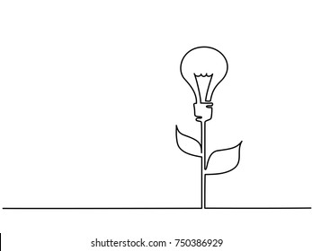 Continuous line drawing. Electic light bulb illuminated on stem of plant with leaves. Eco idea metaphor. Vector illustration