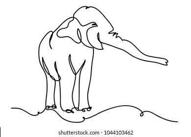 continuous line drawing of elephants wildlife vector illustration