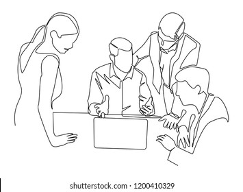 continuous line drawing of an employee is meeting a business idea vector business illustration