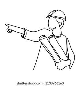 continuous line drawing engineer building vector illustration simple.
