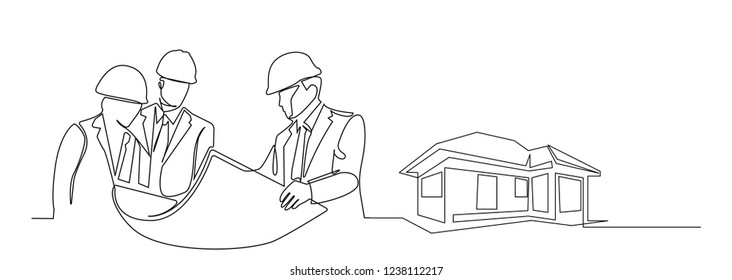 continuous line drawing engineer building house Construction supervision vector illustration simple.industry