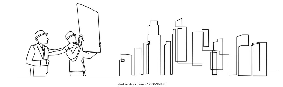 continuous line drawing engineer building Construction supervision vector illustration simple.