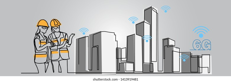 continuous line drawing engineer building Construction supervision vector illustration simple. 6G logo icon internet service