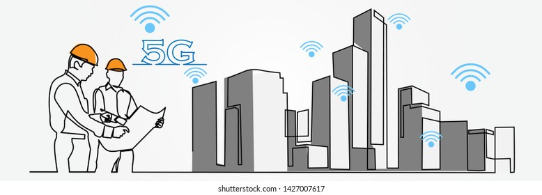 continuous line drawing engineer building Construction supervision vector illustration simple. 5G logo icon internet service