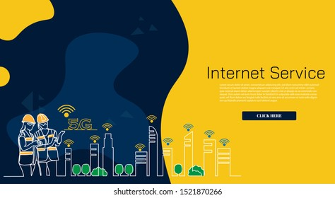 continuous line drawing engineer building Construction supervision simple. 5G/6G logo icon internet service internet advertising. Influencer marketing, social media or network promotion, SMM banner,