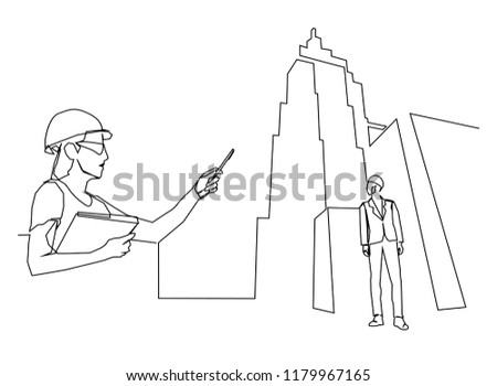 continuous line drawing engineer building construction stock vector Funny Construction Worker continuous line drawing engineer building construction supervision vector illustration simple