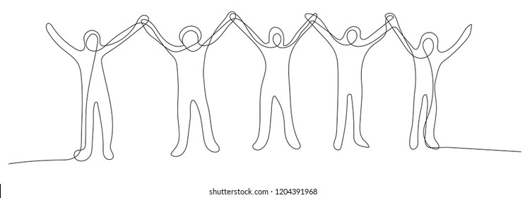 Continuous line drawing of excited teams get together standing and holding hands in the air, successful concept