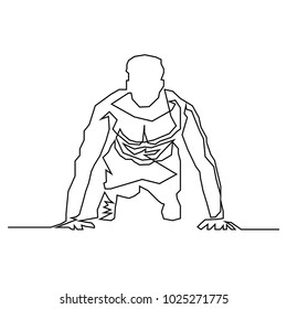 continuous line drawing of exercise, health, fitness vector.