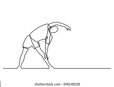 continuous line drawing of exercising man