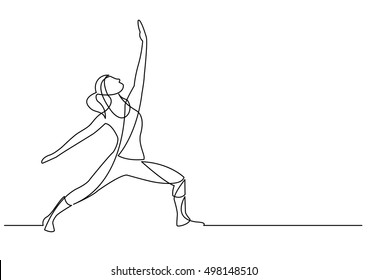 continuous line drawing of exercising woman