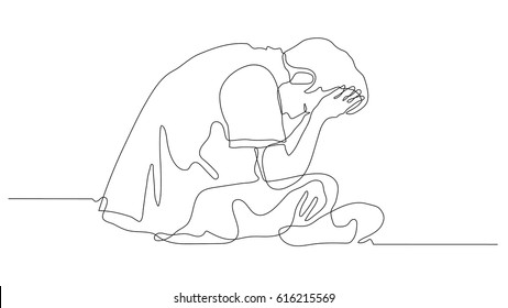 continuous line drawing of Exhausted sad young man covering his face by hands