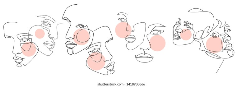 Continuous line, drawing of face and hairstyle, fashion concept, woman beauty minimalist, vector illustration for t-shirt, slogan design print graphics style