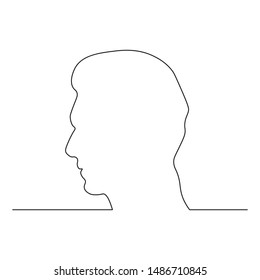 Continuous line, drawing of the face of a man having thoughts in his brain Simple hand-drawn stripes, vector illustration