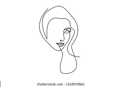 Continuous line, drawing of faces and hairstyle, fashion concept, woman beauty minimalist, vector