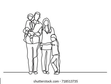 continuous line drawing of family standing together