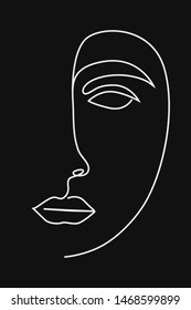 Continuous line drawing , fashion concept, woman beauty minimalist, vector