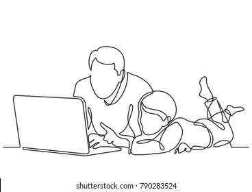 continuous line drawing of father and child watching laptop computer