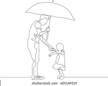 continuous line drawing of Father and daughter with umbrella to hide from sun
