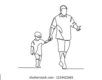 continuous line drawing of Father holding baby Family