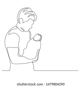 Continuous line drawing of a father and son lovely family concept Father's Day card.