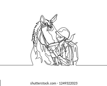 Continuous line drawing of female jockey kissing her lovely horse. One line draw of horse rider concept. Vector illustration