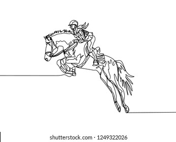 Continuous line drawing of female jockey practice riding horse to jump. One line draw of horse rider concept. Vector illustration