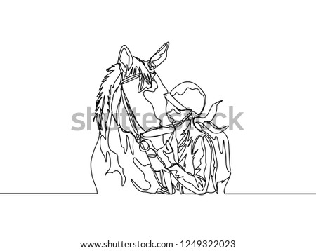 Continuous Line Drawing Female Jockey Kissing Stock Vector Royalty