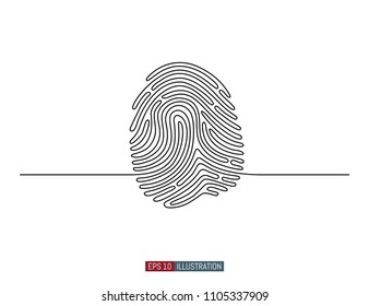 Continuous line drawing of fingerprint. Abstract smart phone silhouette. Template for your design. Vector illustration.