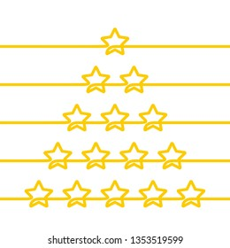 Continuous line drawing of five stars customer product rating review icon set, Minimalistic linear illustration made of one thick line