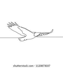 Continuous line drawing Flying eagle. Vector illustration.