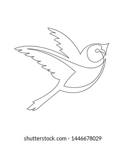 continuous line drawing of flying little bird