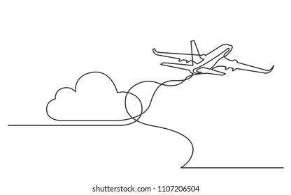 continuous line drawing of flying passenger plane