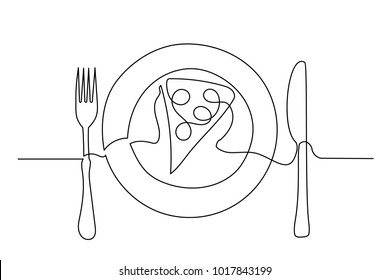 Continuous line drawing. Fork, knife and pizza on a plate. Drawing by hand on a sign. Lines black on white background.