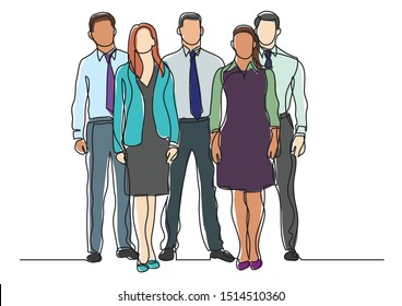 continuous line drawing of four business professionals standing confident