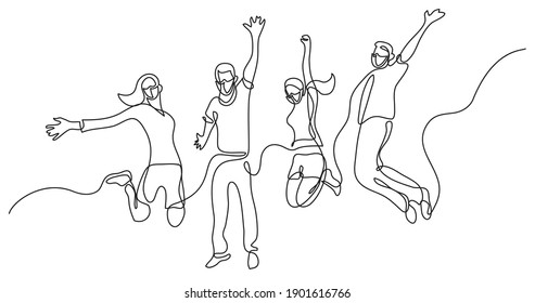 continuous line drawing of four jumping happy team members wearing face masks