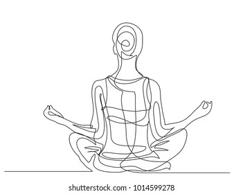 Continuous line drawing. Girl is engaged in meditation. Yoga. Vector illustration