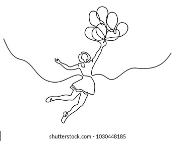 Continuous line drawing. Girl flying in air with balloons. Vector illustration